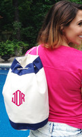 Monogrammed Canvas Drawstring Bag - Navy / Natural - FREE SHIP