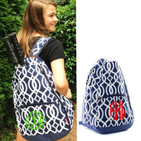 roomy and quality construction monogrammed tennis bag / backpack