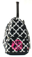 BLACK WHITE BRISTOL TILE TENNIS BACKPACK
