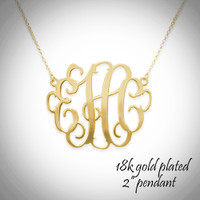 cut out monogram necklace - xxl pendant of 2""