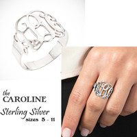 CAROLINE Monogram Ring -  Cut Out Monogram -  Sterling Silver - FREE SHIP