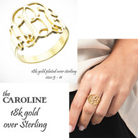 CAROLINE Monogram Ring -  Cut Out Monogram -  18k Gold Plated over Sterling - FREE SHIP