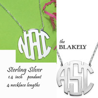 "BLAKELY Necklace - Monogrammed Large Sterling Necklace - 1.4"" Pendant - FREE SHIP"