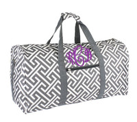 Monogrammed Large Canvas Rounded Duffle -  - Greek Key - Gray & White - FREE SHIP