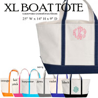 Monogrammed X Large Canvas Boat Tote -  Assorted Colors - FREE SHIP