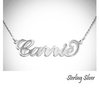 CARRIE Name Necklace  - Sterling Silver - Double Thickness - FREE SHIP