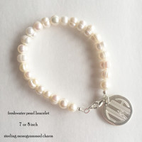 Jacqueline Freshwater Pearl Bracelet with Monogrammed Sterling Charm - FREE SHIP