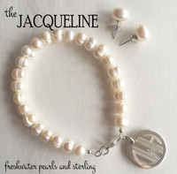 Jacqueline 2 Piece Set - Freshwater Pearl Bracelet with Monogrammed Sterling Charm & Freshwater Pearl Earrings - FREE SHIP