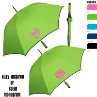 Personalized Large Umbrella with Lilly Inspired Print or Solid Monogram - FREE SHIP