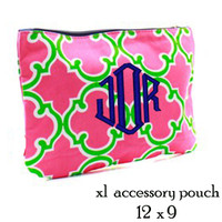 Monogrammed X Large Accessory Pouch - Bristol Tile - Preppy Hot Pink & Lime - FREE SHIP