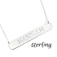 Miss Lucy's NAME or MONOGRAM BAR NECKLACE- STERLING SILVER - 16 or 18 in chain - FREE SHIP