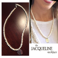 JACQUELINE Necklace  - Freshwater Pearl Necklace with Monogrammed Sterling Charm - FREE SHIP