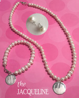 JACQUELINE Complete Set - Freshwater Pearl Bracelet & Necklace with Monogrammed Sterling Charm & Freshwater Pearl Earrings - FREE SHIP