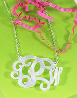 the MCKENZIE - Monogrammed Acrylic SOLID  Necklace- ENGRAVED - FREE SHIP