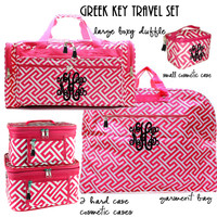 Monogrammed  5 Piece Travel Set - Greek Key - Hot Pink / White - FREE SHIP