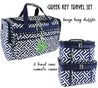 Monogrammed 3 Piece Travel Set - Greek Key - Navy / White - FREE SHIP