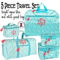 Monogrammed 5 Piece Travel Set - Greek Key-Bright Aqua & White Greek Key/FREE SHIP/Bridal Gift/Gift for Her/Bridesmaid Gift/Grad Gift/Travel Set/GiftSet