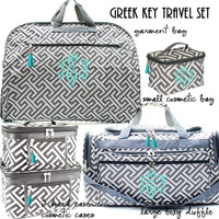 Monogrammed 5 Piece Travel Set - Greek Key - Gray / White  - FREE SHIP