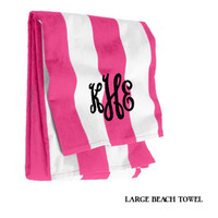 Monogrammed Large Cabana Stripe Beach Towel - Hot Pink & White - FREE SHIP