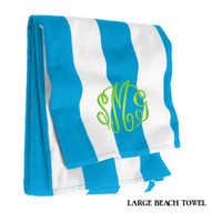 Monogrammed Large Cabana Stripe Beach Towel - Turquoise & White - FREE SHIP
