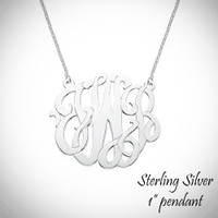 "SO FANCY Premium Necklace - Monogrammed Sterling Necklace  - 1"" Pendant - FREE SHIP"