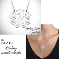 "BLAIR NECKLACE - Monogram Cut Out  Necklace - Sterling  - 1"" Pendant - FREE SHIP"