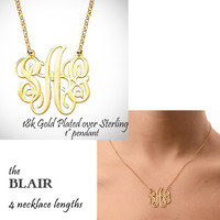"BLAIR NECKLACE - Monogram Cut Out  Necklace - 18k Gold Plated Necklace  - 1"" Pendant - FREE SHIP"
