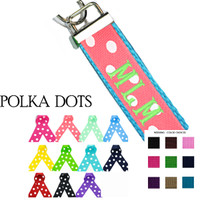 Custom, Monogrammed Key Fob  - Polka Dots Ribbon Choices - FREE SHIP
