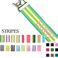 Custom, Monogrammed Key Fob  - Stripes Ribbon Choices - FREE SHIP