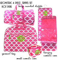 Monogrammed 4 Piece Travel Set - Geometric - Hot Pink / White  - FREE SHIP