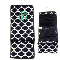 Monogrammed Hanging Cosmetic / Toiletry  Bag - Geometric - Black  / White  - FREE SHIPPING