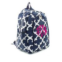 Monogrammed Large Backpack - Bristol Tile - Navy and White - FREE SHIP