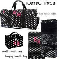 Monogrammed 3 Piece Travel Set - Polka Dot  -Black / White-FREE SHIP/ladies' Travel Set/Gift for Her/Bridesmaid Gift/Flower Girl Gift/Dancer Gift/Grad Gift