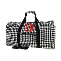 Monogrammed Large Canvas Rounded Duffle - Houndstooth - Black & White