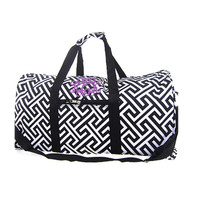 Monogrammed Large Canvas Rounded Duffle - Greek Key - Black & White