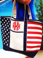Monogrammed X Large Canvas Boat Tote - USA FLAG - FREE SHIP