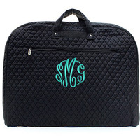 Monogrammed Quilted Garment Bag - Solid Black - FREE SHIP