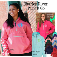 Monogrammed Charles River PACK N' GO Unlined Pullover Wind Jacket - 1 or 2 Monograms- FREE SHIP