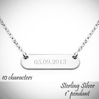 Customized Sterling Bar Necklace  - up to 10 Characters Engraved  - FREE SHIP