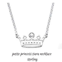 Sterling Petite Princess Tiara  Necklace  - FREE SHIP