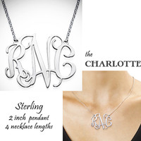 """the CHARLOTTE Necklace - Monogrammed XL Sterling Necklace  - 2"""" Pendant - FREE SHIP"""