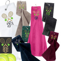 Monogrammed  Tennis Velour Towel - Crossed Racquets & Monogram -  FREE SHIP