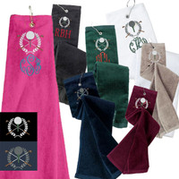 Monogrammed Golf  Velour Towel - Wreath & Ball on Tee -  FREE SHIP