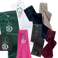 Monogrammed Golf  Velour Towel - Crossed Clubs & Wreath -  FREE SHIP
