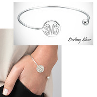 HARPER Sterling Bangle  - Monogrammed Open Cuff - FREE SHIP