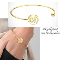 HARPER 18k Gold Plated over Sterling Bangle  - Monogrammed Open Cuff - FREE SHIP