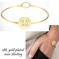 PRESTON 18k Gold Plated over Sterling  Bangle  - Monogrammed Hook  Bangle - FREE SHIP