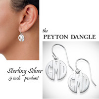 PEYTON DANGLE  - Monogram Cut Out Sterling Dangle Earrings- FREE SHIP