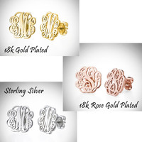 BLAIR POST  - Sterling Silver Monogrammed Cut Out Post Earrings- FREE SHIP