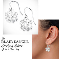 BLAIR DANGLE  - Sterling Silver Monogrammed Cut Out Dangle Earrings- FREE SHIP